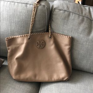 Tory Burch taupe leather tote bag